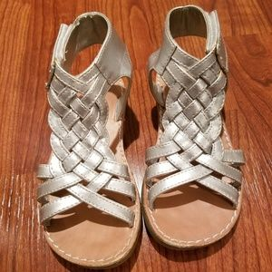Other - Little girls boutique Silver velcro sandals size 9